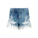 Crochet Embellished Fringe Hem Hot Pants Denim Shorts