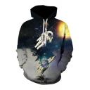 Galaxy Astronaut Printed Long Sleeve Hoodie