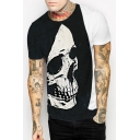 Color Block Skull Printed Round Neck Short Sleeve Tee