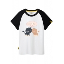 Color Block Raglan Short Sleeve Cat Letter Printed Round Neck Tee