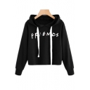 FRIENDS Letter Printed Long Sleeve Crop Hoodie