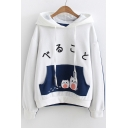 Japanese Cat Printed Color Block Long Sleeve Hoodie