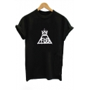 Fashionable FOB Letter and Crown Printed Round Neck Short Sleeve Tee