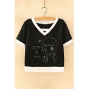 Contrast Trim Character Japanese Printed V Neck Short Sleeve Tee