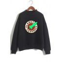 Rocket Letter Printed High Neck Long Sleeve Sweatshirt