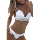 Lace Insert Halter Sleeveless Bikini