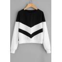 Basic Panel Round Neck Long Sleeve Stripes Sweatshirt