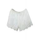 Elastic Waist Crochet Cutout Hem Plain Shorts