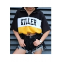 KILLER Letter Color Block Zipper Lapel Collar Short Sleeve Drawstring Hem Crop Tee