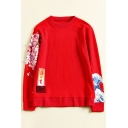 Floral Embroidered Japanese Wave Printed Round Neck Long Sleeve Sweatshirt