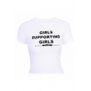 GIRLS SUPPORTING GIRLS Letter Printed Round Neck Short Sleeve Crop Tee