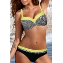 Fashionable Color Block Printed Holiday Bikini