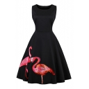 Elegant Flamingo Printed Round Neck Sleeveless Midi A-Line Dress
