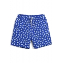 Top Rated Mens Royal Blue Melon Pattern Swim Trunks with Mesh Lining Pockets