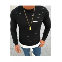 Fake Two Piece Cut Out Detail Round Neck Long Sleeve Slim Tee