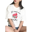 NO MATTER Letter Floral Embroidered Round Neck Short Sleeve Tee