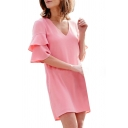 Ruffle Detail Short Sleeve V Neck Plain Mini A-Line Dress