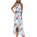 Floral Printed Halter Sleeveless Hollow Out Detail Split Front Maxi Asymmetrical Beach Dress