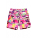 Unique Big and Tall Pink Color Block Print Swim Trunks without Liner with Side Lined Pockets