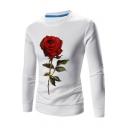 Digital Rose Printed Round Neck Long Sleeve Slim Pullover Sweatshirt
