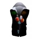 Balloon Astronaut Printed Zip Up Sleeveless Hoodie