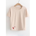 Cat Ball of Yarn Embroidered Round Neck Short Sleeve Tee