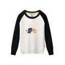 Color Block Raglan Long Sleeve Cat Letter Printed Round Neck Sweatshirt