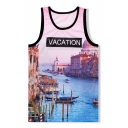 VACATION Letter Venice Water City Printed Round Neck Sports Tank Tee