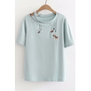 Dog Embroidered Front Split Round Neck Short Sleeve Tee