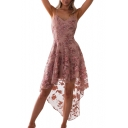 Floral Embroidered Mesh Insert Spaghetti Straps Sleeveless Midi Asymmetric Hem Dress