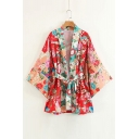 Crane Floral Printed Collarless Flare Long Sleeve Kimono