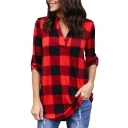 Classic Plaid Printed V Neck Long Sleeve Blouse