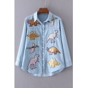 Sequined Dinosaur Applique Lapel Collar Long Sleeve Buttons Down Shirt