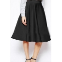 Retro Classic Plain Midi A-Line Skirt