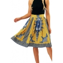 Digital Tribal Printed High Waist Midi A-Line Skirt