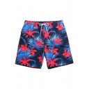 Fast Drying Male Navy Blue and Red Floral Print Swim Trunks with Mesh Lined Pockets