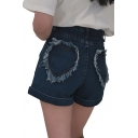 Heart Pattern Pockets High Waist Zipper Fly Hot Pants Denim Shorts