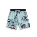 Mens Blue Quick Dry Big and Tall Elastic Cool Rooster Cartoon Swim Trunks Shorts without Mesh Liner