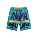 Cool Drawcord Fast Drying Green Letter Pattern Swim Trunks for Guys with Side Pockets