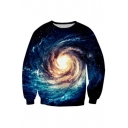 Leisure Spiral Galaxy Print Round Neck Pullover Sweatshirt