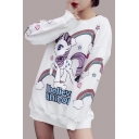 Unicorn Rainbow Letter Printed Round Neck Long Sleeve Sweatshirt