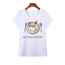 Egg Letter Printed Round Neck Short Sleeve Tee
