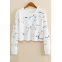 Splash Ink Art Printed Round Neck Long Sleeve Crop Sweatshirt