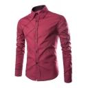 Lapel Collar Long Sleeve Single Breasted Slim Shirt
