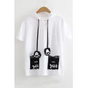Letter Fish Bone Printed Pocket Short Sleeve Hooded Tee