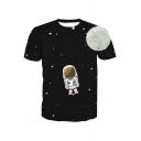 Cartoon Astronaut Moon Printed Round Neck Short Sleeve Tee