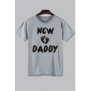 New Daddy Footprint Printed Round Neck Short Sleeve Tee