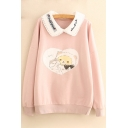 Cats Printed Peter Pan Collar Long Sleeve Sweatshirt