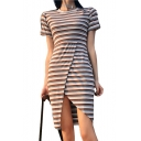 Striped Printed Round Neck Short Sleeve Midi Asymmetric Hem Dress