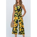 Floral Printed Sleeveless Wide Leg Jumpsuit